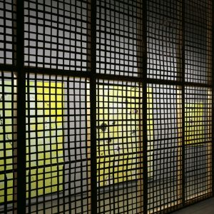 Max Schulze: No Loitering, 2013, installation with four paitings and neon tubes